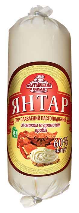 """Сыр плавленый пастообразный """"Янтарь"""" со вкусом и ароматом крабов"""