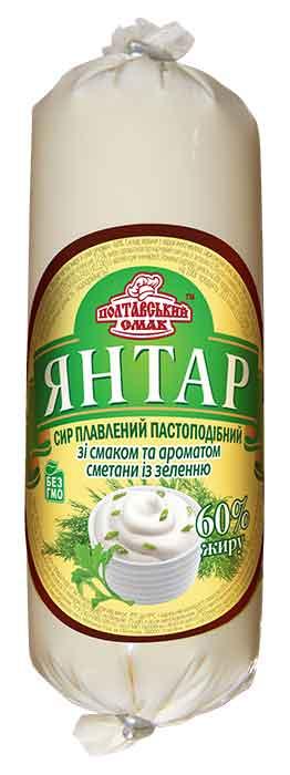 """Сыр плавленый пастообразный """"Янтарь"""" со вкусом и ароматом сметаны с зелени"""