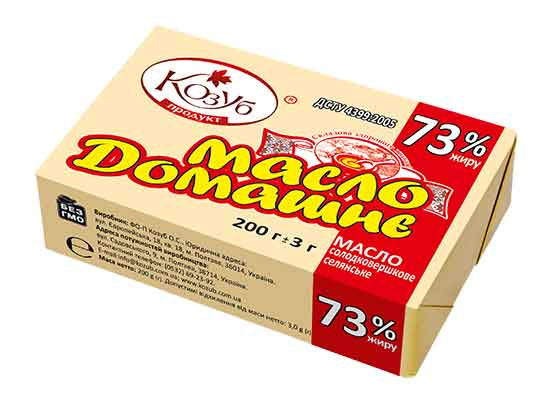 Масло солодковершкове селянське ДОМАШНЄ 73% жиру ДСТУ4399:2005