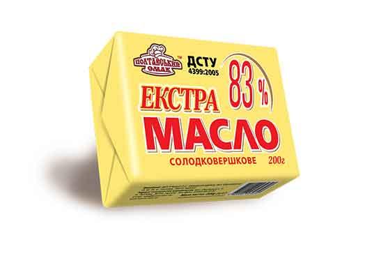 Масло солодковершкове екстра 83% жиру ДСТУ 4399:2005