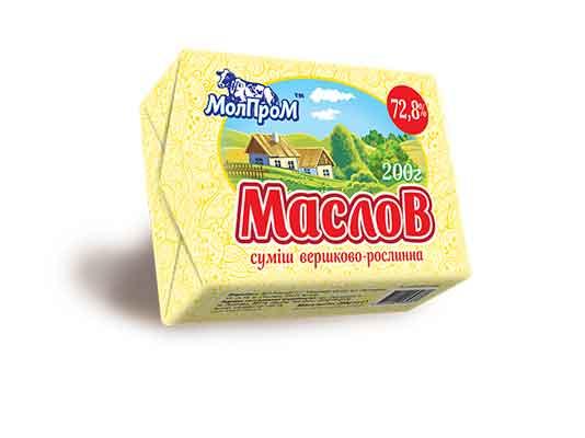 """Суміш вершково-рослинна """"Маслов"""" 72,8% жиру ТМ МолПром"""
