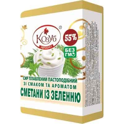 Сыр плавленый пастообразный со вкусом и ароматом сметаны с зеленью